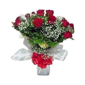Buquê Amor com 12 rosas Frente