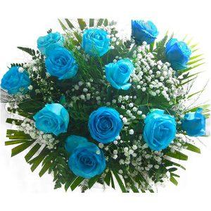 Buquê com 12 Rosas Azuis Cima